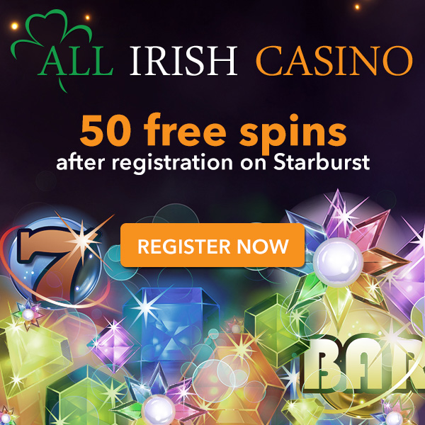 50 Free Spins at All Irish Casino.